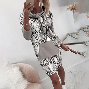 Casual Lady Winter Sweatshirt Dress with Hood Leopard Hoodie Dress Autumn Women Female Pocket Print Long Sleeve Dresses LJ200818