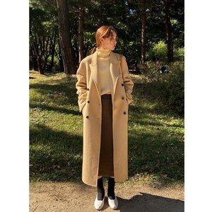 Женская шерсть смешивает двойное пальто Женский темперамент Quu Dong High-End Add Dange Over-Knee с двусторонней тканью кашемира