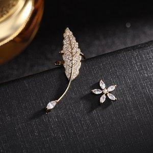 Novo estilo modelo luxo micro-embutido zircão deixa estrela libélula s925 prata agulha brincos jóias moda mulheres 18k brincos banhados a ouro