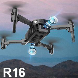 Vente chaude NOUVEAU R16 Drone 4K HD double lentille Mini drone WiFi 1080P Transmission en temps réel FPV Drone Dual Caméras Dual Caméras Plalable RC Quadcopter jouet