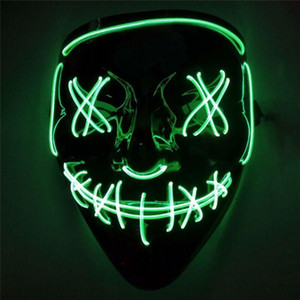 New Skull Cold Light Luminous Fluorescent Mask Halloween Tricky Scary Spoof Horror Luminous Props Holiday Carnival Essentials