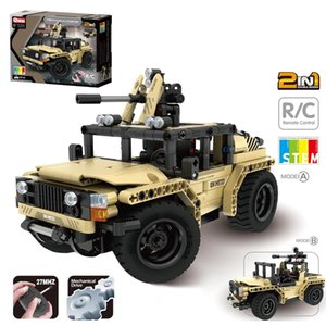 370Pcs Military RC Car Off-Road Vehicle DIY Building Block Kit Brain-Training Toy For Children Educational Toys Birthday Gift