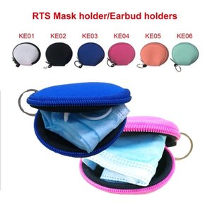 Multi-Function Neoprene Bags Small Coin Purse Face Mask Holder Durable Earphone Bags Zipper Purse Solid Zipper Coin Pouch