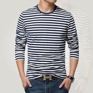 style long-sleeve T-shirt o-neck stripe t men Navy vintage basic 95% cotton shirt 201203