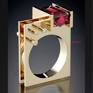 Creative Simulation Simulation Zircon Princess Square Diamond Ring con anello geometrico placcato in oro giallo 684