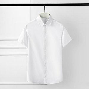 2020 Mens Chemises Haute Qualité Collier de broderie à manches courtes Hommes Robe Homme Shirts Plus Taille 4XL Couleur Solid Slim Homme