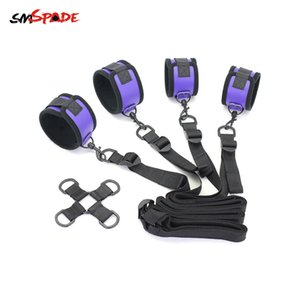Smspade Bondage Restraint Kit Adult Sex Toys Handcuffs Ankle Cuffs Sex Products for Couples Sex bdsm Fetish Chastity Cage Y201118