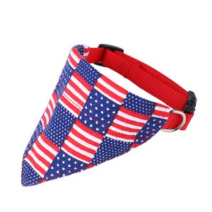 Dog saliva towel fashion Casual Pure cotton American flag Pet triangle scarf stripe printing Polyester Dog collar Factory direct sales