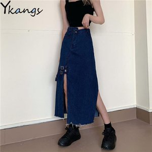Women Summer Irregular High Waist Pocket Jeans Skirts Female Sexy Wrap Split Korean Vintage Long Denim Skirt Harajuku Streetwear Z1122