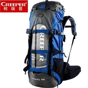 Creeper al aire libre profesional impermeable mochila marco escalada camping senderismo mochila montañismo bolsa 60l carabiner 1.78kg 201123