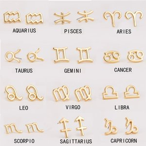 Gold Alloy Star Zodiac Sign Earrings 12 Constellation Pendant Earrings Women Gold Stud Earrings Men Jewelry Gift Kimter-X895FZ