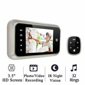 """Chegada nova 3,5"""" tela colorida Peephole IR Night Vídeo Doorbell Foto / Gravação de Vídeo porta Peephole Camera Home Security"""