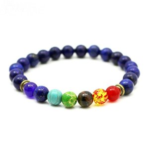 Top Sale Men Natural Lapis Lazuli Stone Beads 7 Chakra Healing Balance Bracelete Feminino Lava Yoga Reiki Prayer 8mm Bead