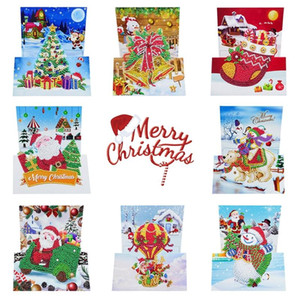 Christmas Card 5D Diamond Painting Kits Christmas Tree Santa Claus Full Drill New Year Greeting Card and Chris