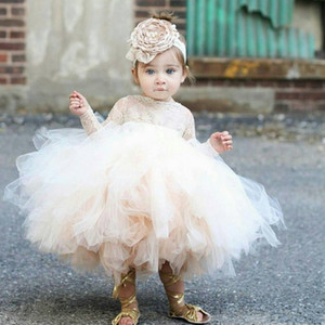Vintage Flower Girls Dresses Ivory Baby Infant Toddler Baptism Clothes With Long Sleeves Lace Tutu Ball Gown Birthday Girl Dress
