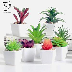 Декоративные цветы венки Прекрасные искусственные растения с горшкой симуляторы суккуленты мини-бонсай в горшках помещены поддельные зеленые столовые украшения1
