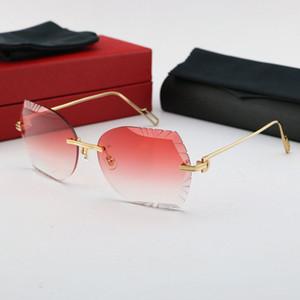 LIVRAISON GRATUITE FEMMES OU HOMME VERREES UNISEX SUN VERREES MÉTALES MÉTALLES SURVEILLES SURVEILLES SURVEILLES Lunettes de soleil 18K Gold Cut Diamant Glasses Nouveau