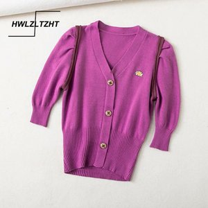 HWLZLTZHT 2020 Summer Retro Knitting Sweater Embroidery Cardigan Woman V neck Tops Puff Sleeves Jumper Mujer Knitted Knitwear