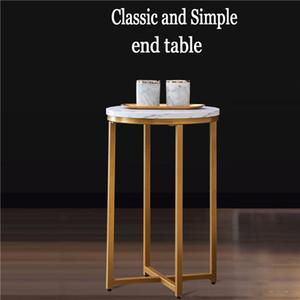 US акционерное угловое столовое вазу в гостиной, украшенной мраморным мрамором X-образным базой стороной твердой древесины столик быстрая доставка