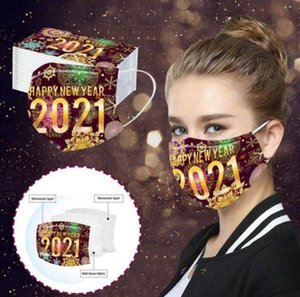 Happy New Year Face Mask 3 Layered Disposable Masks Adult Print Dustproof Breathable Protective Party Decoration Mouth Cover LJJP794