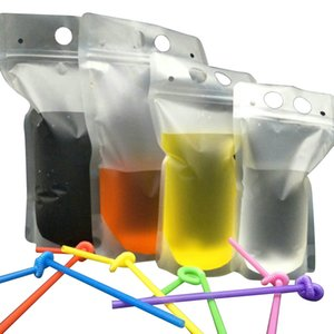 Clear Drink Pouches Bags frosted Zipper Stand-up Plastic Drinking Bag with straw with holder Reclosable Heat-Proof GWB1926