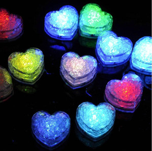 Love Heart Shape Flashing Ice Cubes Led Light Water-Actived Luminous Glowing Ice Block Christmas Wedding Party Decor