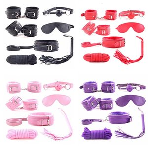7pcs set for Woman PU Leather SM Bondage Set Sexy Handcuffs Footcuffs Whip Rope Eye Mask Blindfold Erotic Sex Toys for Couples Y201118