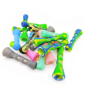 Silicone Smoking Pipe Glass Bongs 3.4 inches Cigarette Hand Pipes Portable Mini Tobacco Pipe Cigarettes Holder zyc22