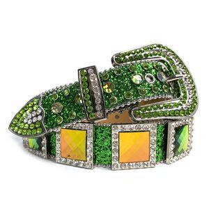 Новый дизайн Западный горный хрусталь пояса Cowgirl Cowboy Green Bling Bling Crystal Crystal Cleared кожаный ремень Птичка для мужчин