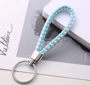 30 Color Keychain Ring Woven Rope Pu Pendant Accessories Holder Suitable Car Round Leather Braided For Keychain sqcln queen66