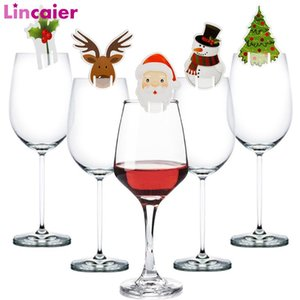 50pcs Santa Claus Snowman Tree Wine Glass Christmas Decorations For Home Table Place Cards Xmas Gift New Year Party Supplies BWE3621