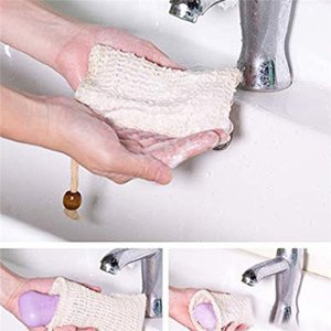 Hot Selling Natural Exfoliating Mesh Soap Saver Sisal Soap Saver Bag Pouch Holder For Shower Bath Foaming And Drying FY2378