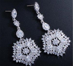 Elegante Designer Ohrringe Frauen Zirkon Langer Tropfen Quaste Tropfen Ohrringe Cz Cubic Zirkonia Schmuck Hochzeit Braut Party Prom Silber Schmuck