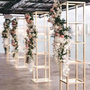 Сторона украшения акадия цветочные колонны квадратная рамка цветок ваза столбец подставка для свадебных событий декор 1191