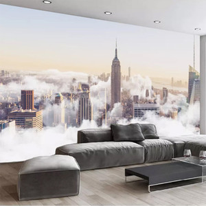 Custom Photo Wallpaper 3D City Building Clouds Murals Restaurant Cafe Living Room TV Sofa Backdrop Wall Painting Papel De Parede