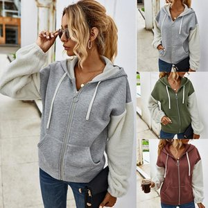 2020 Autumn Hoodies Sudaderas Sudaderas Mujeres Patchwork Cremallera Cremallera Capuchacha Outwear Outwear Damas Cremallera Pocket Blouses Streetwear