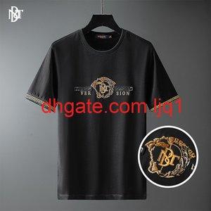 Huashang erkek giyim - 2021 bahar ve yaz yeni İngiliz tarzı t-shirt altın mektup boncuk nakış yaz kısa kollu erkek t-shirt