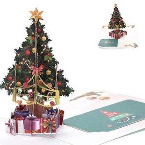 15*15cm 3d Up Christmas Tree Greeting Card New Hollow Carved Postcard Xmas Gift Diy Handmade Wedding Festival Invitation Cards