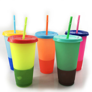 24oz color changing cups Plastic Drinking Tumblers with lid and straw Candy colors Reusable cold drinks cup magic Coffee tea beer mug