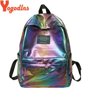 Yogodlns Waterproof Laser Backbag Women Shoulder Bag Preppy Style Holographic Backpack School Bags for Teenage Girls Travel Bags A1113