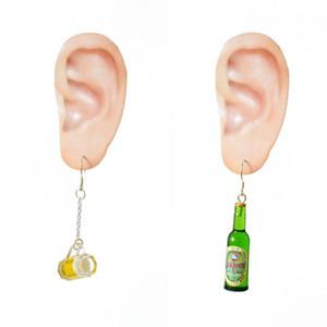Mini Cute Beer Bottle Wine Glass Asymmetric Resin Drop Earrings Fashion Jewelry