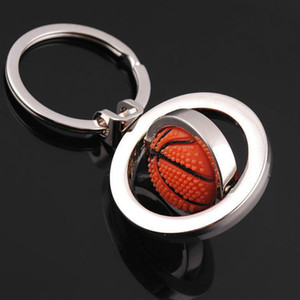 Rotatable Basketball keychain sport football basketball golf keychain key rings key holders bag hangs fashion jewelry