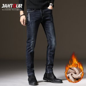 Jantour Men Winter Fleece Spessa calda nuova moda Dritto Slim Denim Pantaloni retrò jeans lunghi maschio