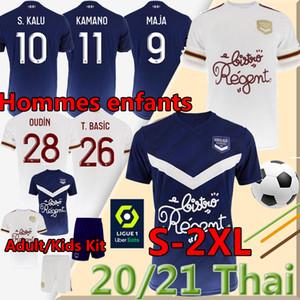 20 21 Girondins de Bordeaux Jerseys de football Maja Oudin S.Kalu Ben Arfa T.Basic 2020 2021 Maillot de Chemise de football Hommes Adulte Enfants Kit Uniforme