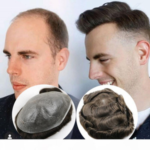 Human Hair Toupee for Men NG Hairpieces PU Thinnest Skin Hair Replacement Toupees V Looped Thin Skin Men's Toupee Full PU