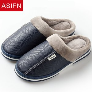 ASIFN Men Slippers Indoor Leather Winter Waterproof Warm Home Fur Women Slipper Male Couple Platform Shoes Fluffy Big Sizes 201203