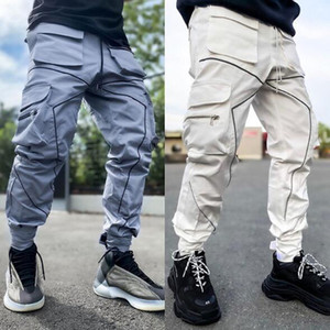 Cargo Sweatpants Mens Multi Pockets Overalls Loose Straight Long Joggers Outdoor Running Reflective Stripe New Design Trousers Streetwear
