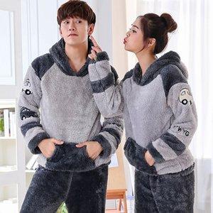 2020 Winter Long Sleeve Couples Thick Warm Flannel Hooded Pajama Sets for Women Cute Cartoon Coral Velvet Sleepwear Men Homewear Q1201
