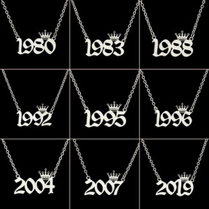 English Number Letter Necklace Stainless Steel Chain Crown Necklace for Women Birthday Gift Female Birth Year Necklaces