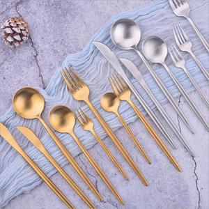 Ensemble de vaisselle de haute qualité en or 304 402 en acier inoxydable de qualité alimentaire Soupe à la cuillère à fourche de fourchette de fourche de banquette de banquet Décoration de mariage DHE3384